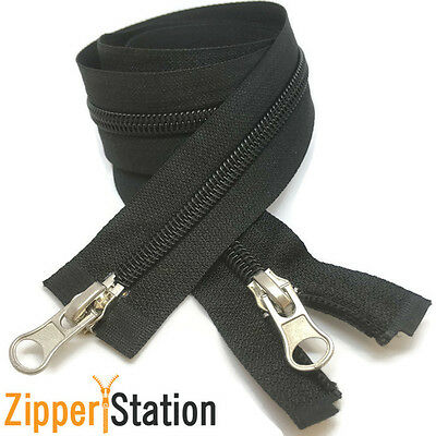 2 way SIZE 5 Nylon Coil Open Ended Zip Zippers - Choice 4 Lengths