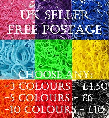 3, 5 or 10 Bags RUBBER LOOM BANDS DIY KIT, REFILL BAGS, S CLIPS & LOOM TOOL INC