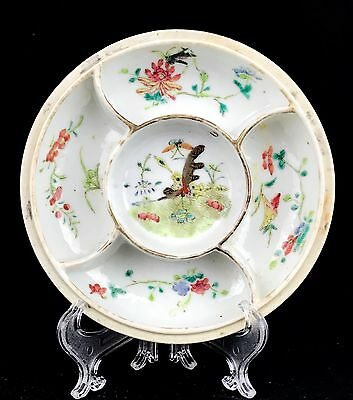 Antique Chinese Qing Dynasty Mark Famille Rose Sweetmeat Covered Porcelain Dish