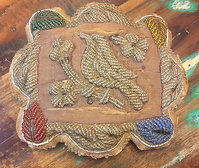 1800s Vintage Iroquois Pin Cushion Bird Glass Beads 9x7.5 Sewing Native American
