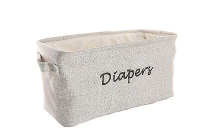 Dejaroo Baby Diaper Storage Bin - Nursery Organizer Caddy - Embroidered Grey