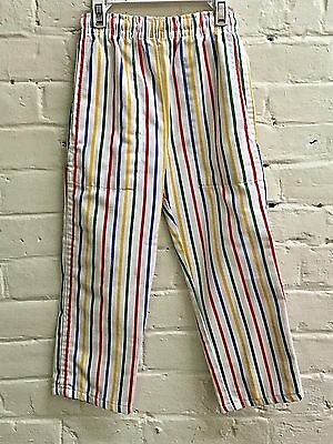 Vtg 70s boy 3 Pants Cutecumber Slim Striped colorful White pull on Pockets EUC