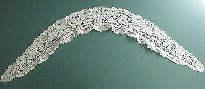 Antique Handmade Honiton Lace Collar White W. A Fold Over Edge/ruffle
