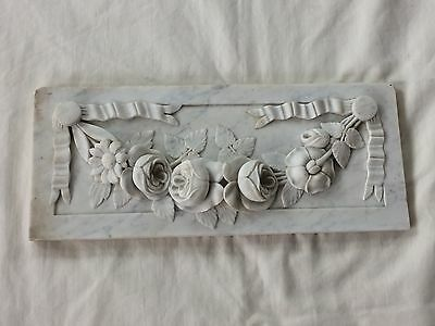 Vintage 1890's White & Gray Marble Relief Carving Wall Display Flowers & Ribbons