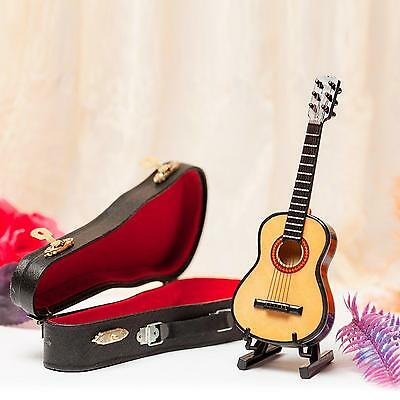 SL Mini Guitar Model Miniature Wood for Decoration with Stand and Case 15cm...