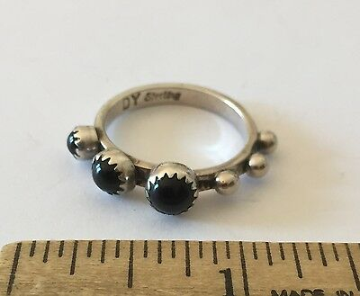 Vintage Native American Sterling Silver DY Raised Onyx Design Unusual
