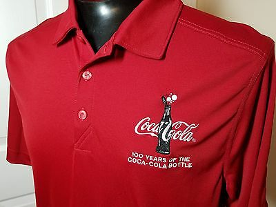Coca Cola 100 Years of the Coke Bottle Red Polo Shirt Cutter & Buck DryTec Sz L
