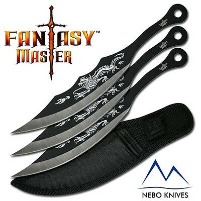 "Fantasy Master Target Throwing Knives Dragon Knife 3 piece Set 7"" overall  FM525"