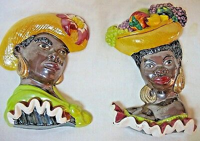 Vintage Black Chalkware Man And Woman