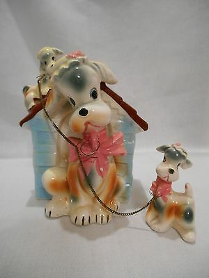 Vintage Ceramic Bank Dog House With 3 Adorable Dogs
