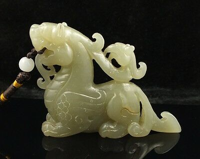 China antique hetian Nephrite jade carved Kylin dragon Statues Play Solitary