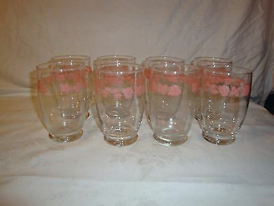 PYREX PINK GOOSEBERRY MUGS CUPS GLASSES LOW BALL TUMBLERS price is for 1 cup