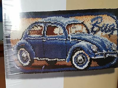 BERNAT craft latch hook rug kit VW BUG 16 X 32 vintage beetle wall hanging KT255