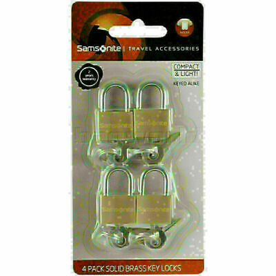 Samsonite Travel Accessories Brass Key Lock Set of 4 Brass 86159