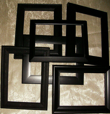 6 Shabby Black Picture Frames Lot,Wood,Plastic,Vintage Style,French Chic 5x7 Set