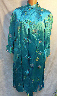 Peony Brand Robe Dressing Gown Shanghai China Satin Long Quilted Embroidered 42