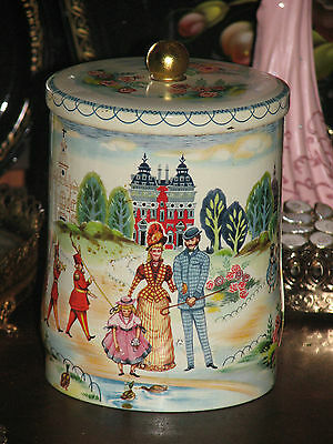 Made In England Biscuit Cookie Tea Tin Old English Scene Bright Colors