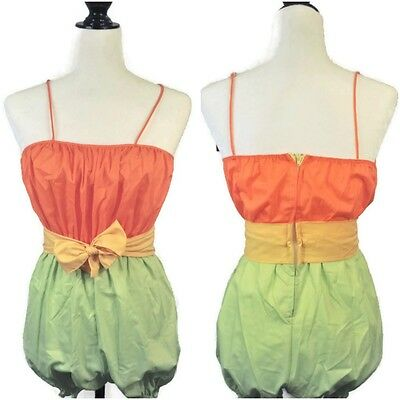 VTG 60s 70s Playsuit Romper Tank Attached Tie Belt NOS Small Orange Green Yellow