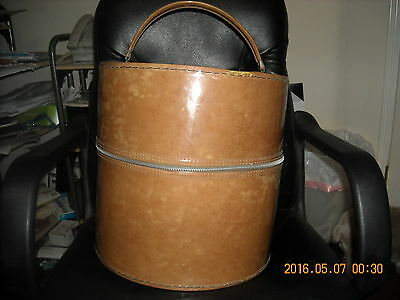 vintage hat box with foam head inside pat leather carry case handle tan zipper
