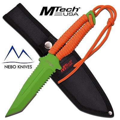 "MTech USA FIXED BLADE TACTICAL KNIFE 10.5"" FULL TANG KNIFE ORANGE GREEN MT2052GO"
