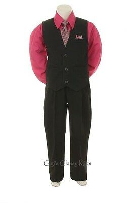 New Baby Toddler Boys Fuchsia & Black Vest Suit Outfit 4 Piece Christmas Wedding