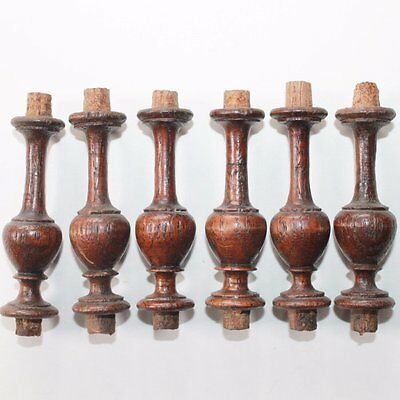 Set of 6 Old Wooden Finials, Clock Inserting Tops, Repair Parts