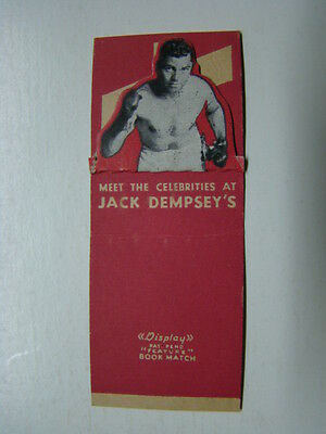 Jack Dempsey's Broadway Bar & Lounge New York NY Matchbook Cover 1940's