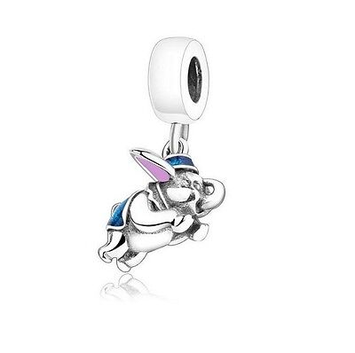 925 Sterling Silver EURO Flying Dumbo Elephant Charm +FREE Pandora Cloth