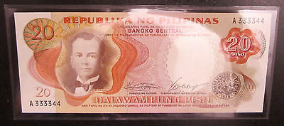 PHILIPPINES BANK NOTE 20 PESOS P145b 1969 ISSUE 2 DIGIT NUMBER UNC SEALED