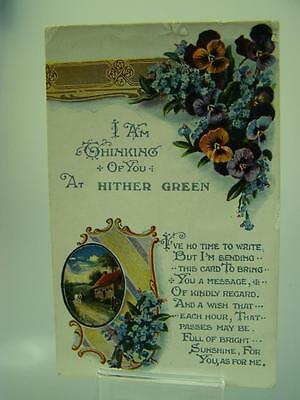 Postcard I am thinking of you at Hither Green c1920's posted used Kent     166