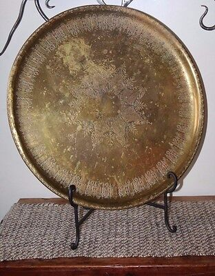 Large OLD PERSIAN ISLAMIC ARABIC Middle East BRASS TRAY 20""