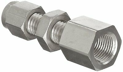 Parker A-Lok 6FBC4N-316 316 Stainless Steel Compression Tube Fitting, Bulkhead x