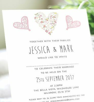 10 Personalised vintage heart wedding invitations with envelopes