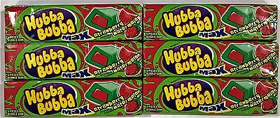 901987 6 x 40g PACKETS OF HUBBA BUBBA MAX, STRAWBERRY WATERMELON FLAV. GUM! USA