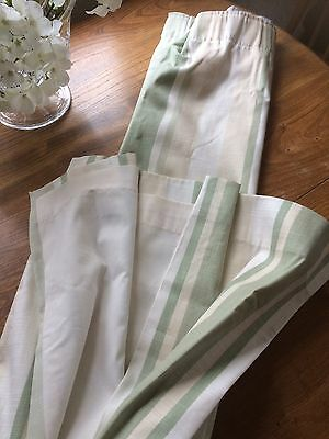 Laura Ashley Awning Stripe Hedgerow Green Curtains