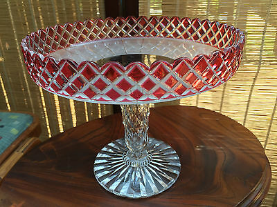 Large Quality English Webb Corbett Cut Crystal Cranberry & Clear Comport