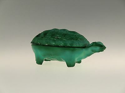 Bohemian Czech Art Deco Malachite Jade Glass Turtle Jewelry Box Dose Jar