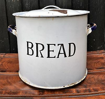 Large Vintage Enamel Bread Bin With Double Handles