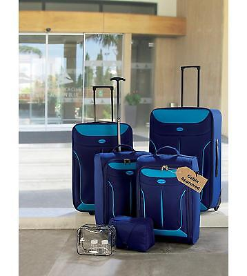 6 Piece Luggage Set Cabin Approved Case Suitcase Set Yellow Blue Pink NEW