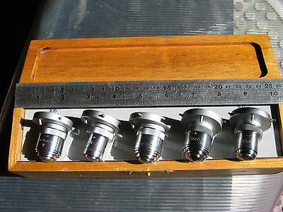 Leitz POL OIL set of FIVE(10,20,32,50 and 125xx) OBJECTIVES COAL/ORE PETROLOGY