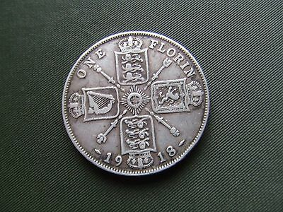 George V.  1918, Silver Florin.      Nice Condition.