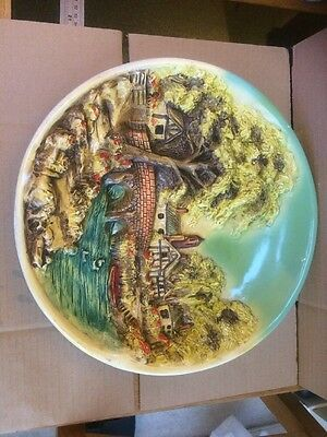 Vintage Large Chalkware 3D Wall Plate/Plaque - Country Village River Scene -
