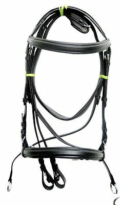 New Black Bitless Leather Cross Over Bridle Web reins Pony