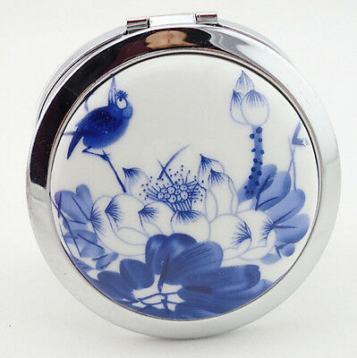 Oriental Inspired Lotus Floral Decorative Compact Mirror - Free Shipping - NEW