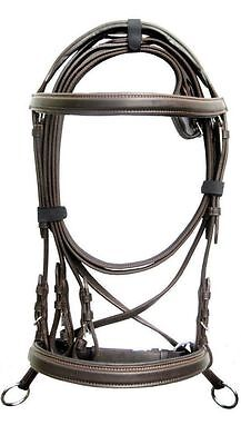 New Brown Bitless genuine Leather Cross Over Bridle Web reins Cob