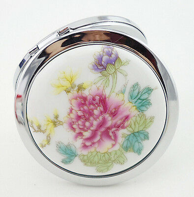Oriental Inspired Peony Floral Decorative Compact Mirror - Free Shipping - NEW