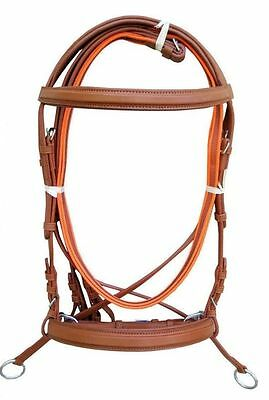 New Tan Bitless genuine Leather Cross Over Bridle Web reins Pony