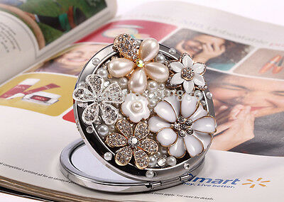 Crystal Pearl & Enamel Embellished Decorative Compact Mirror Free Shipping - NEW