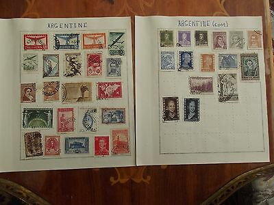 Argentine used collection on 2 old album pages.