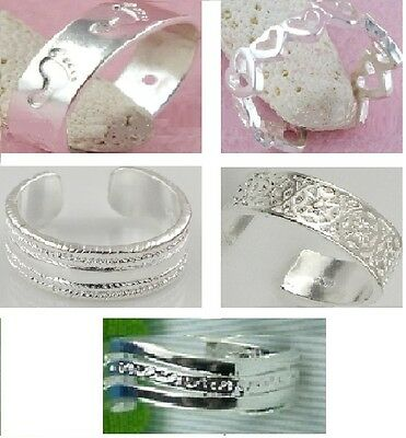 925 Sterling Silver Plated Toe Rings Adjustable 5 Styles